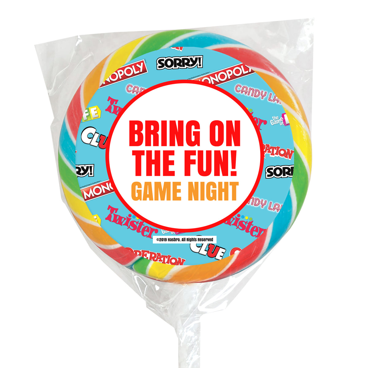 Hasbro Game Night Collection Personalized Rainbow Swirl Lollipops