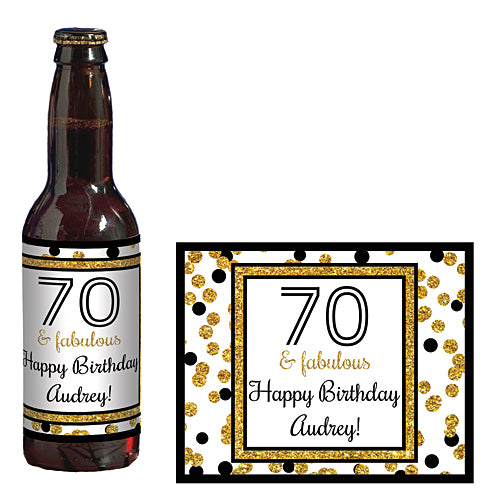 Cheers to You Gold 70 Personalized Glass Bottle Labels
