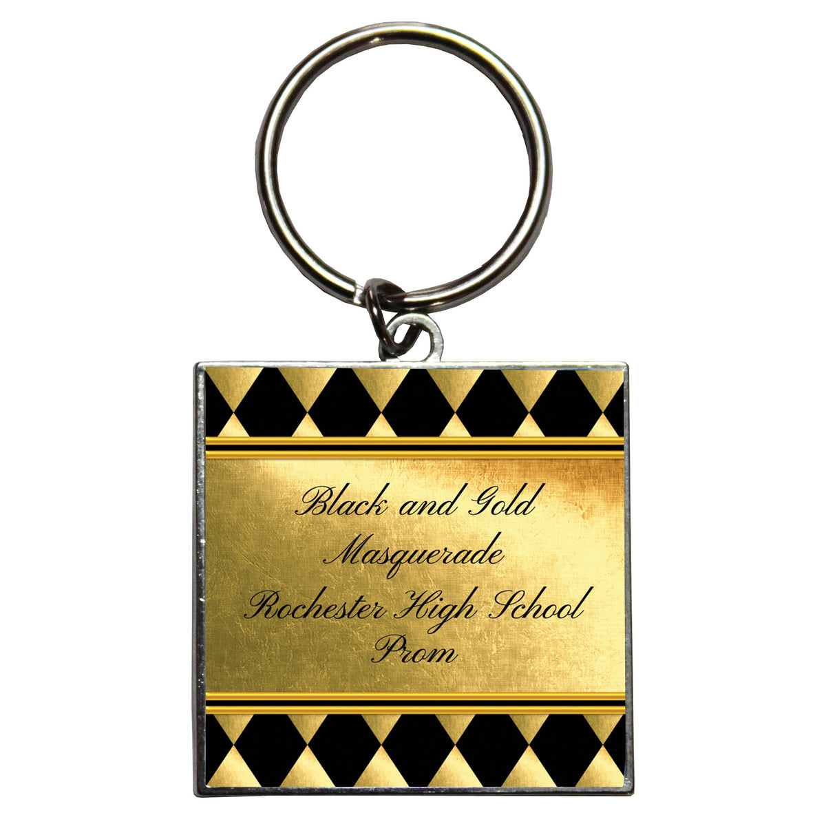 Black & Gold Masquerade Personalized Dome Key Chain