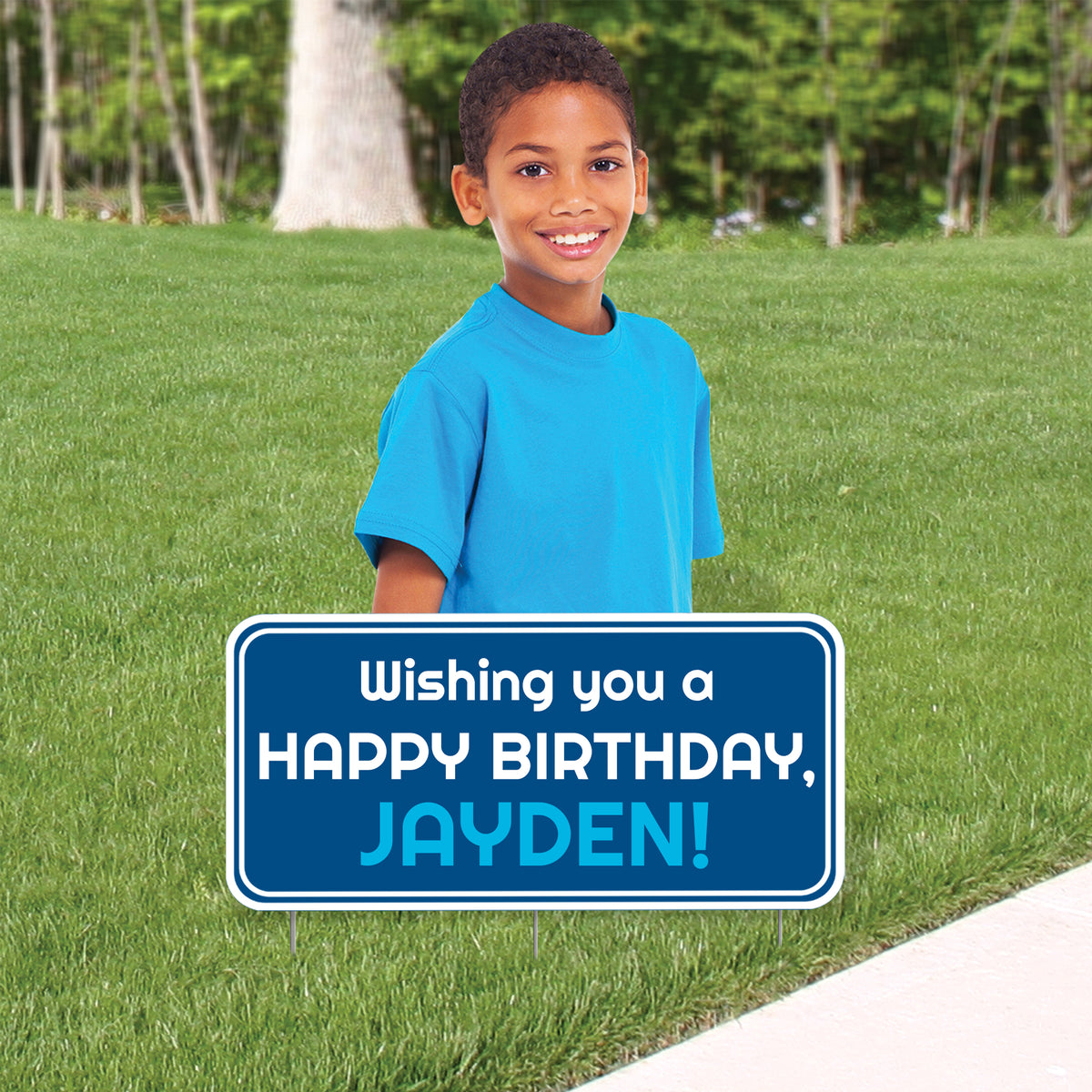 24 in. to 36 in. Boy Birthday Upper Body Cutout Yard Sign with Custom Sign