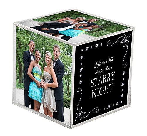 Starry Rhinestones Clear Photo Cubes