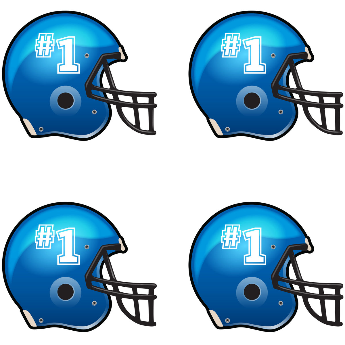 Blue Football Helmet Waterless Tattoos
