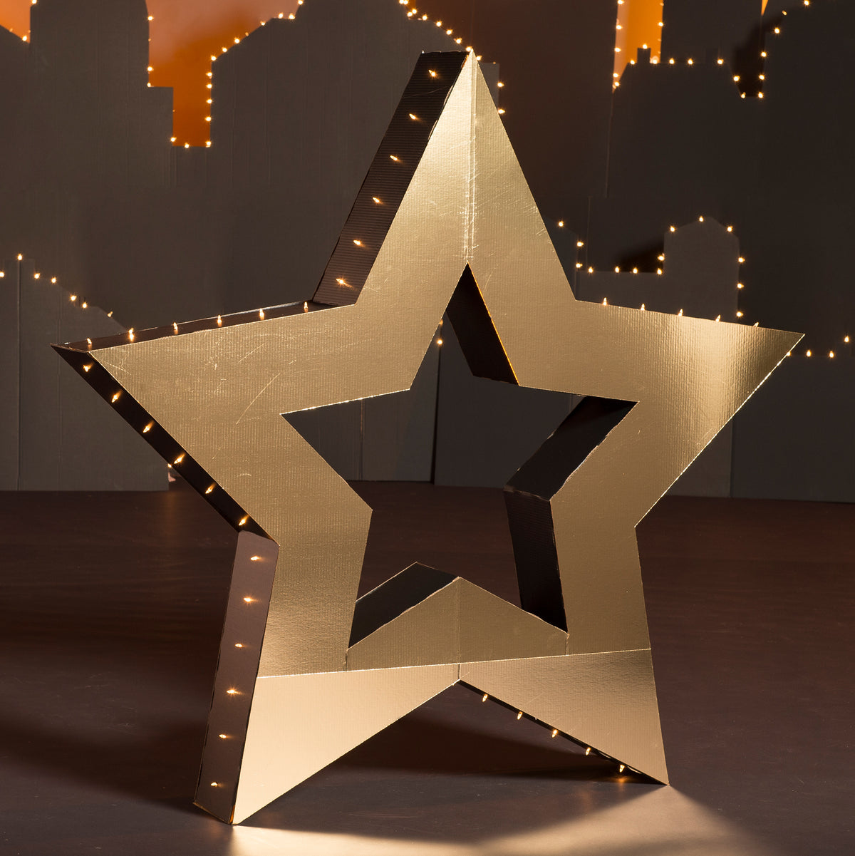 5 ft. 9 in. Black & Gold Large Lighted 3D Star