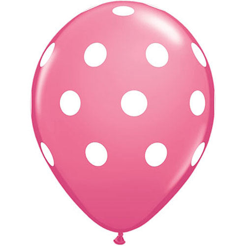 Rose & White Polka Dot Latex Balloons