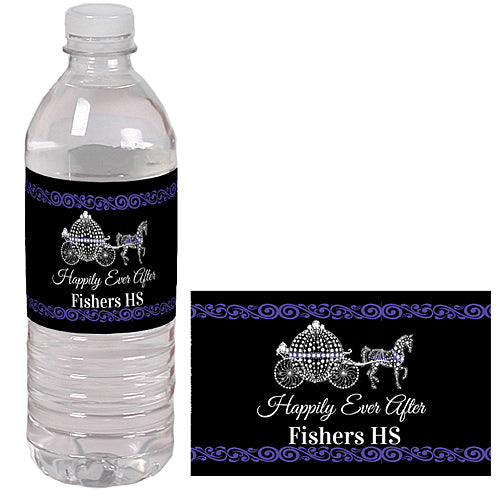 Black And Bling Fairytale Water Bottle Labels