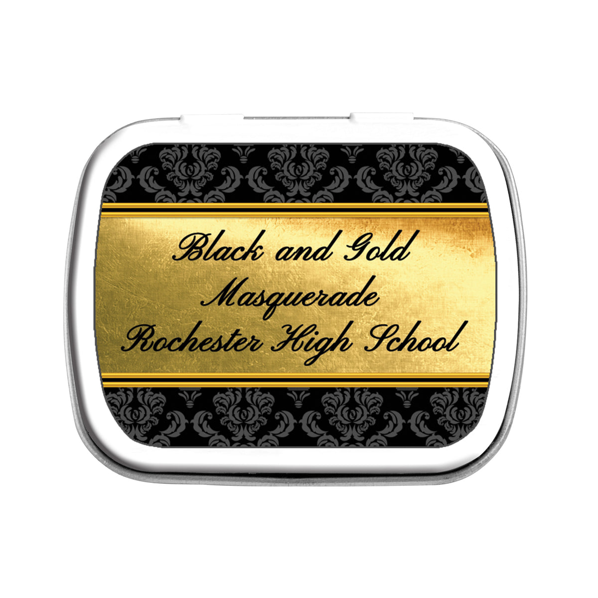 Black & Gold Masquerade Personalized Mint Tin