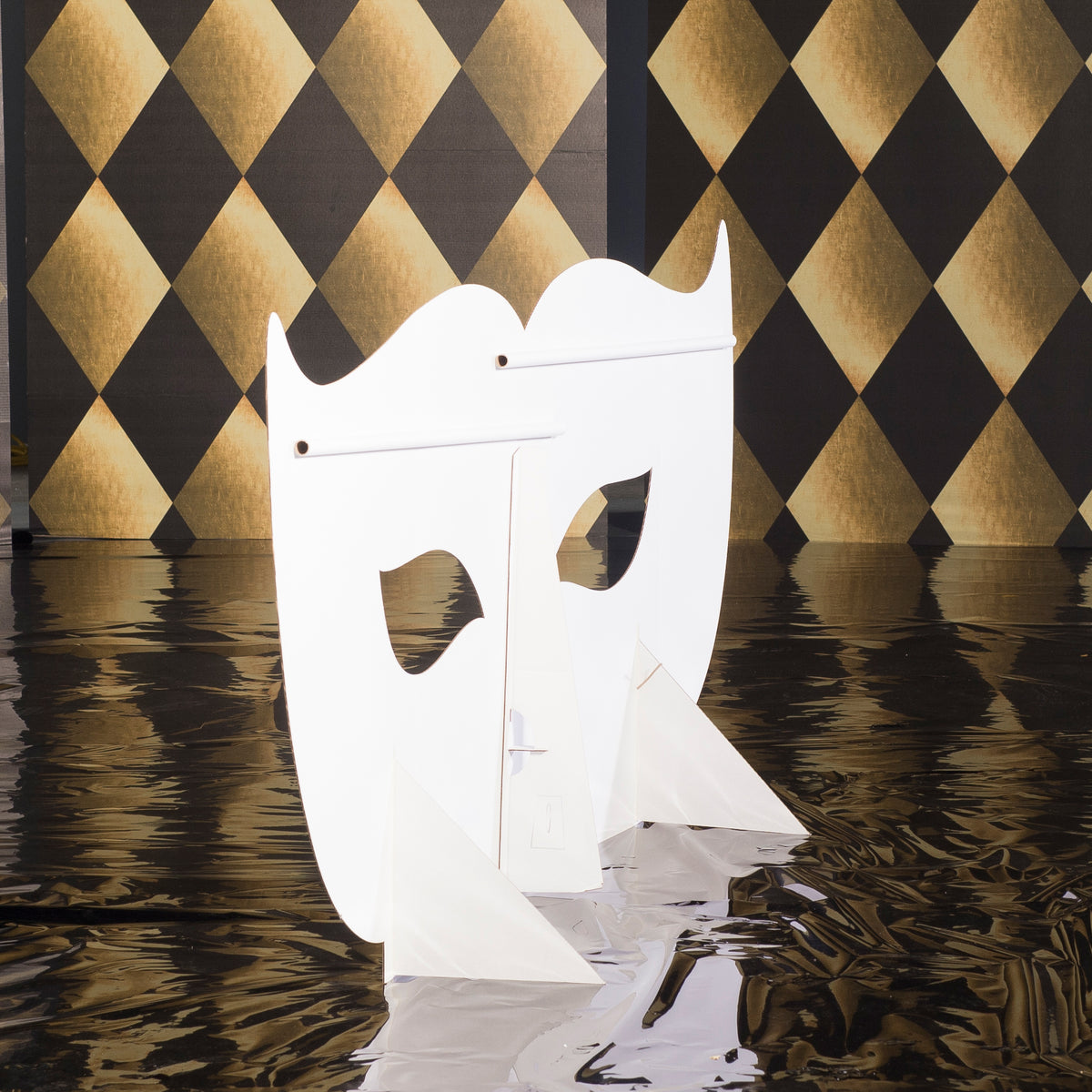 3 ft. 3 in. Black and Gold Masquerade Mask Standee