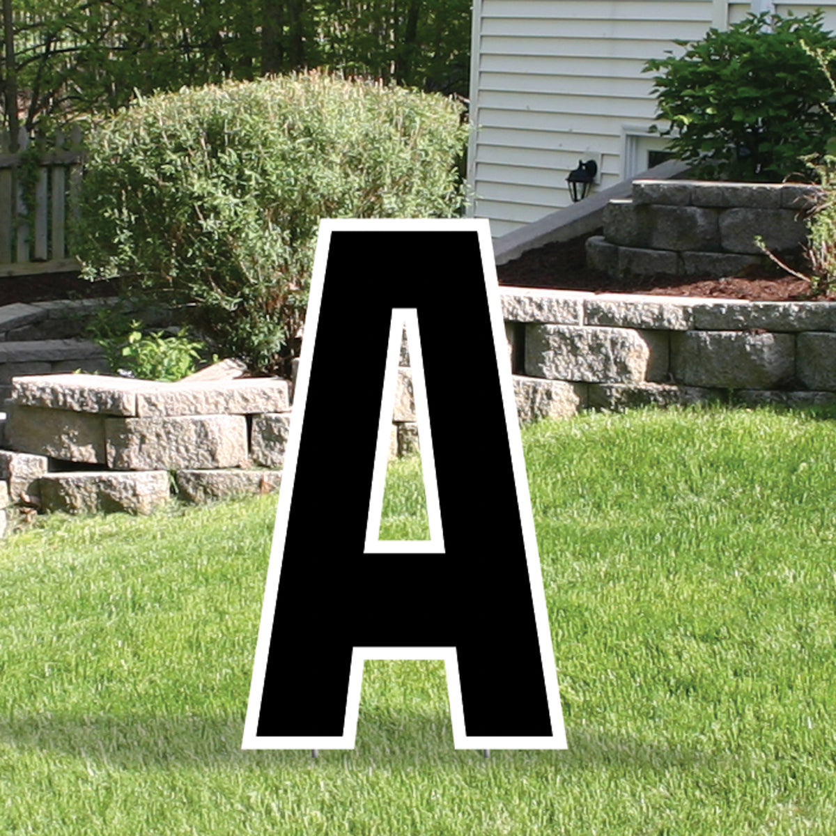 Black Yard Sign Expression Letter A