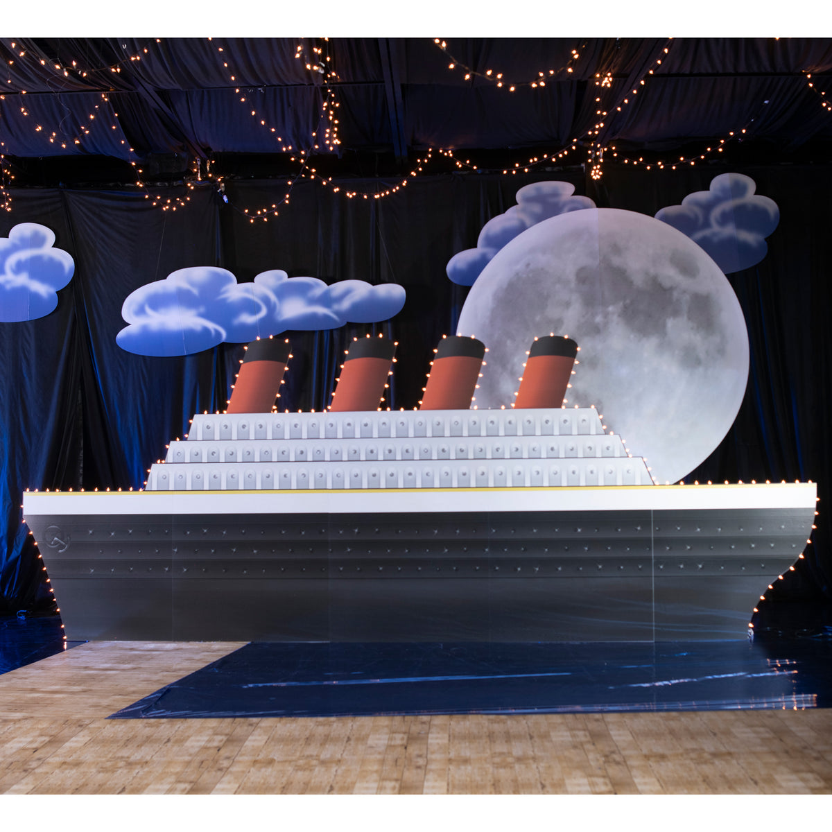 7 ft. 4 in. Midnight Lighted Cruise Ship Standee