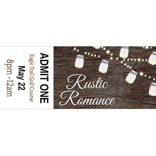 Rustic Romance Custom Tickets