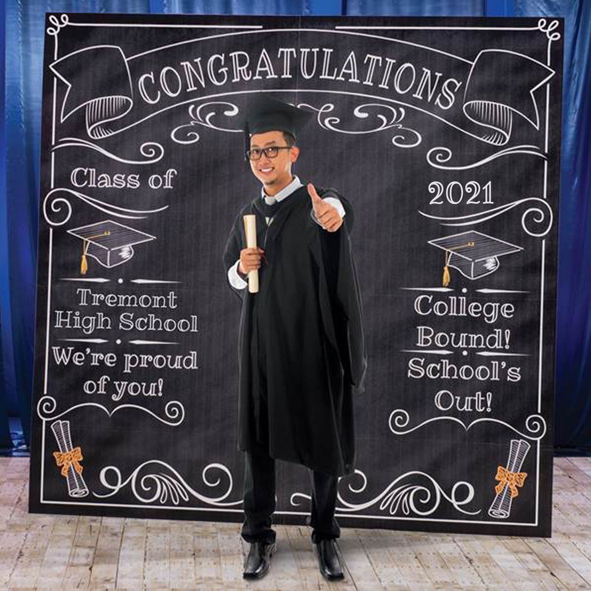 7 ft. 6 in. Graduation Chalkboard Photo Booth Background