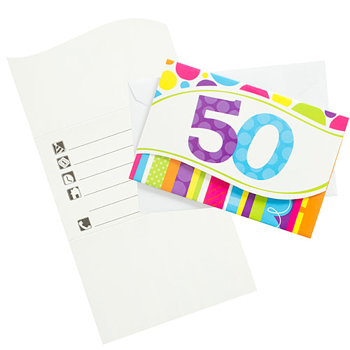 Bright & Bold 50th Birthday Invitations