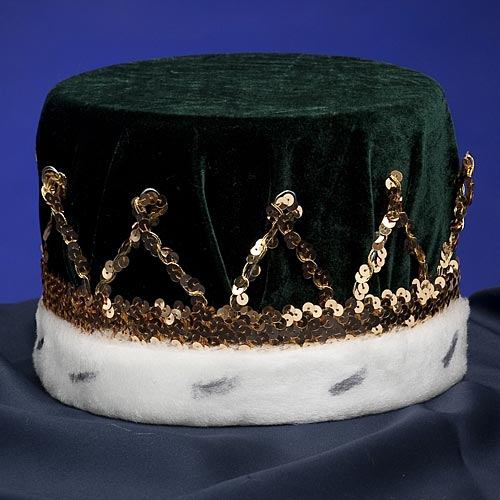 Green And Gold Velvet Royal King'S Crown