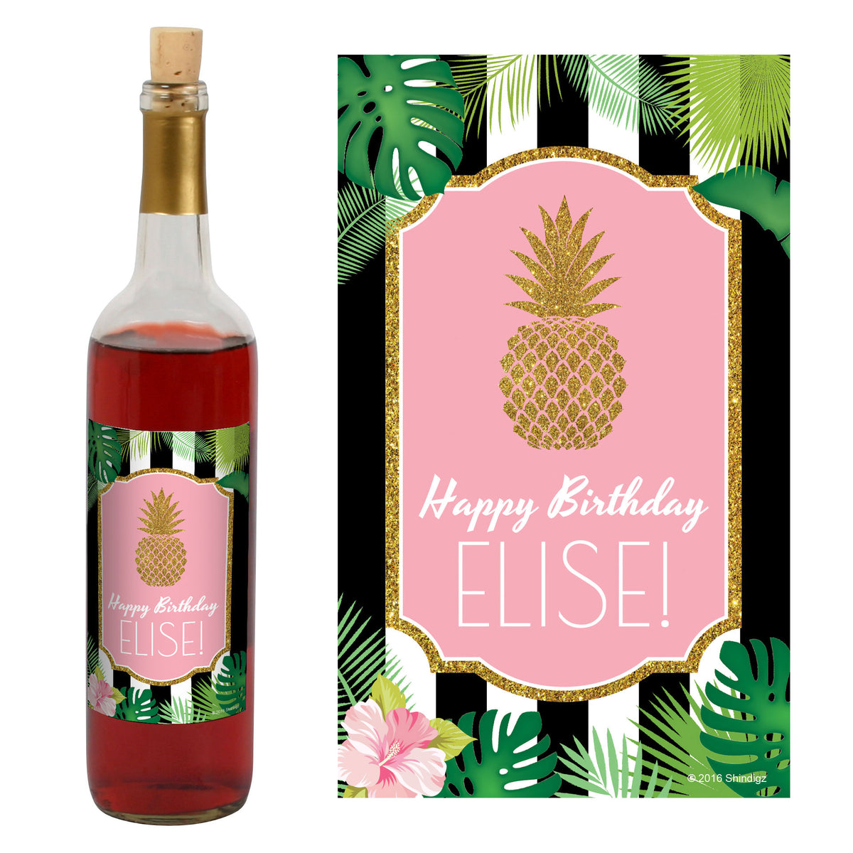 Party Like A Pineapple Wine Bottle Label