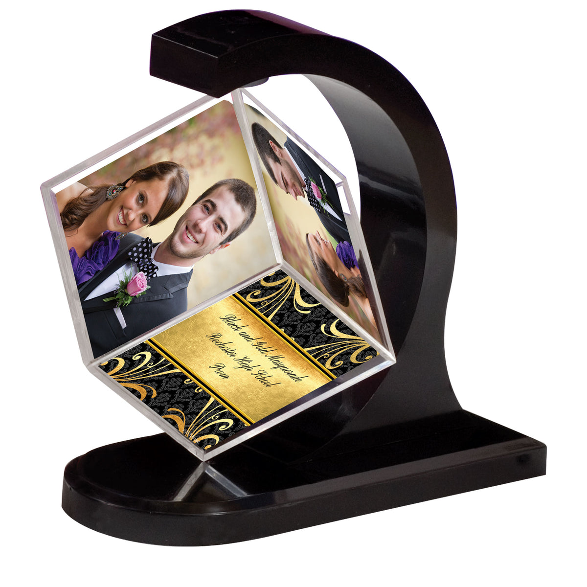 Black & Gold Masquerade Rotating Photo Cube