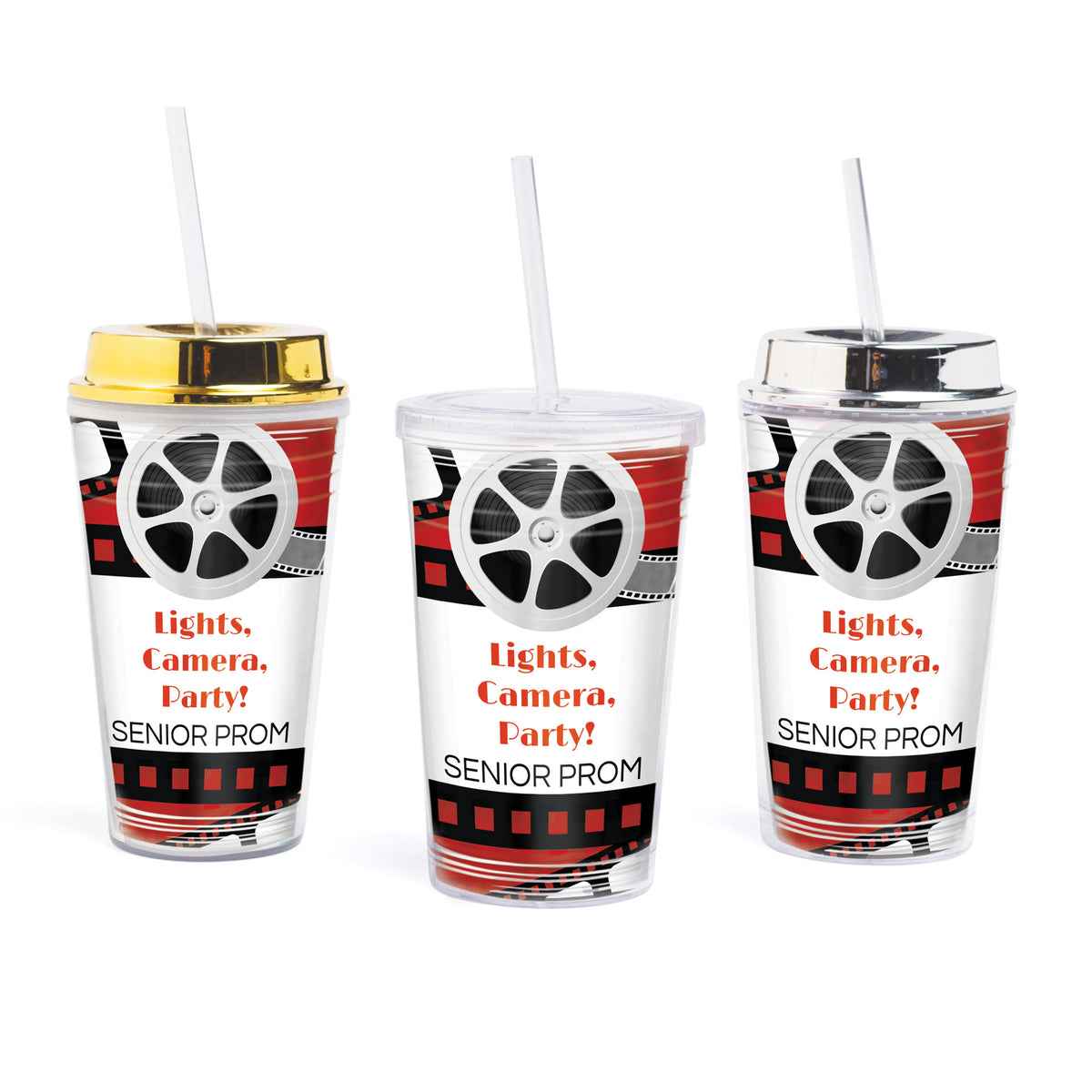 Lights, Camera, Party! Personalized Tumbler