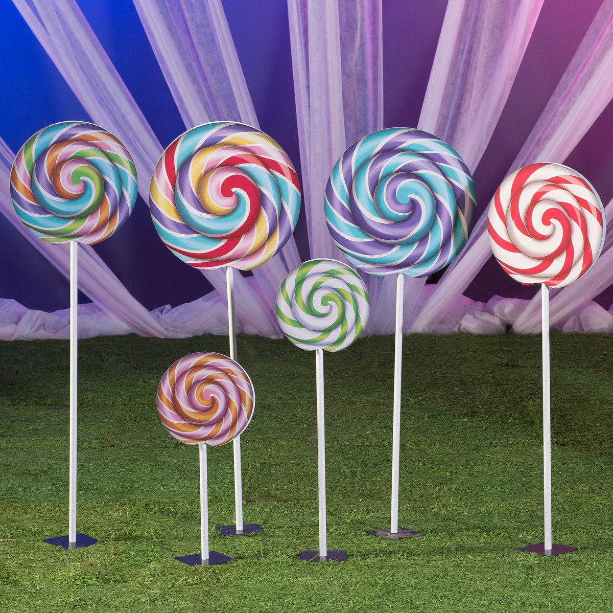 1 ft. 7 in. to 4 ft. 10 in.  Sugar Rush Swirl Lollipop Props