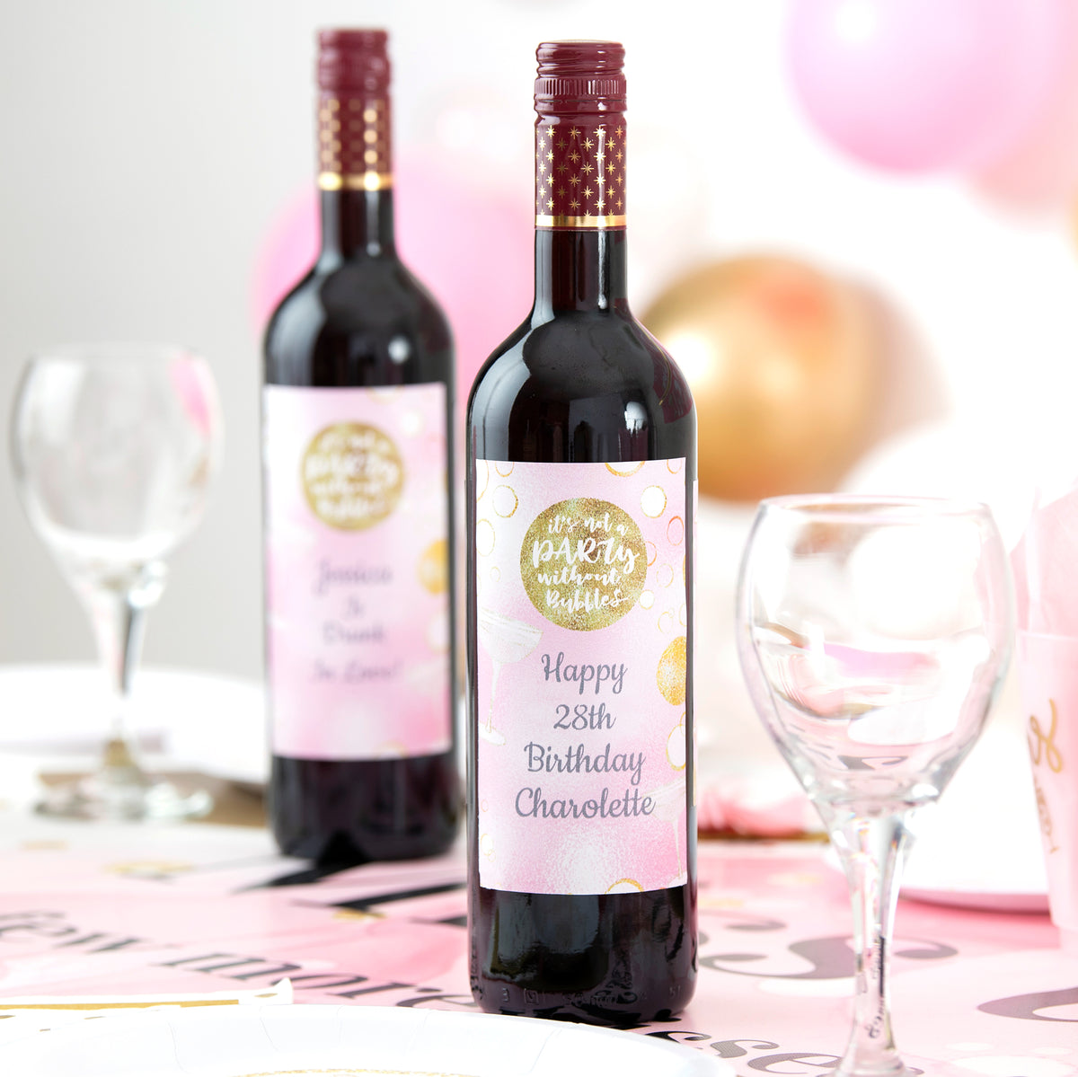 Bubbly Bash Personalized Wine Bottle Labels