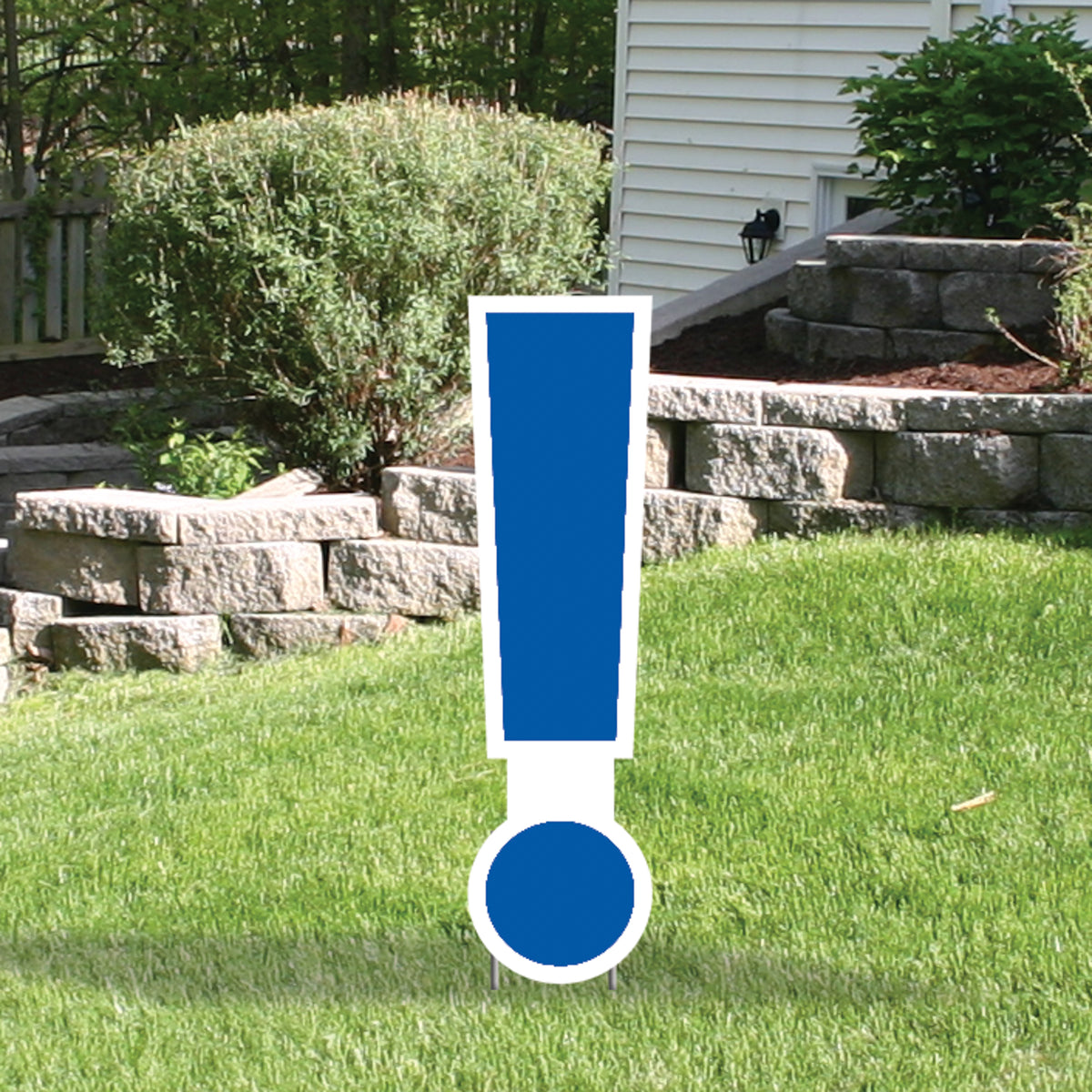 Blue Yard Sign Expression Symbol Exclamation Point