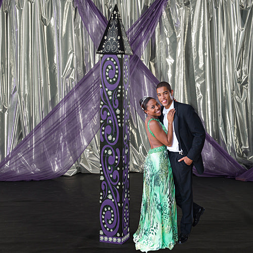 8 ft. 9 in. Black & Bling Fairytale Column