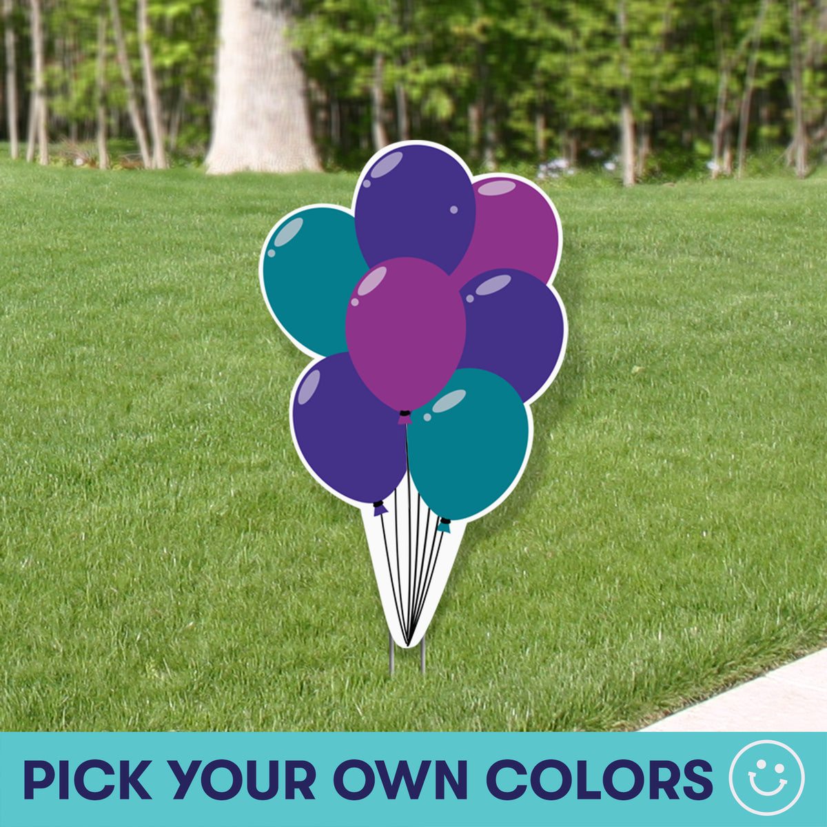 3 ft. Custom Color Balloon Bouquet Yard Sign Expression Icon