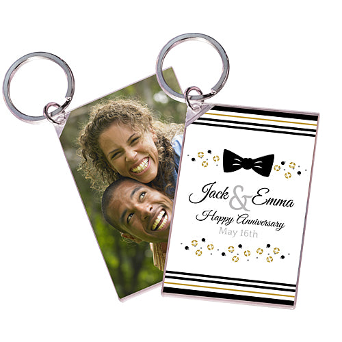 Sequins And Bow Ties Personalized Acrylic Key Chain