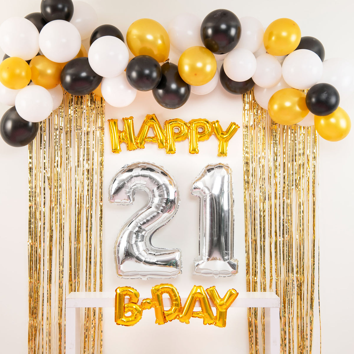 Black & Gold Happy 21st B-Day Balloon Set