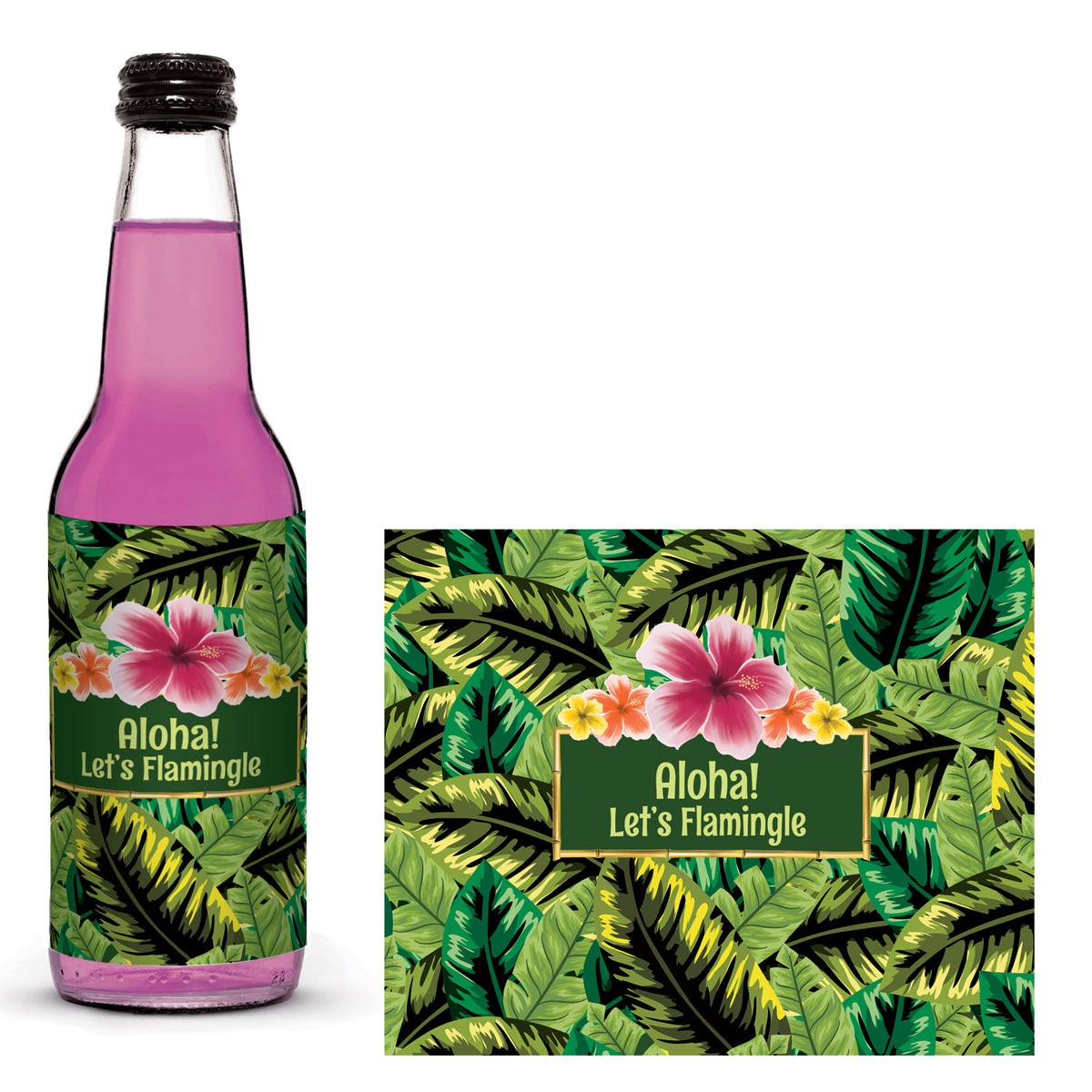 Let's Tiki Personalized Glass Bottle Label