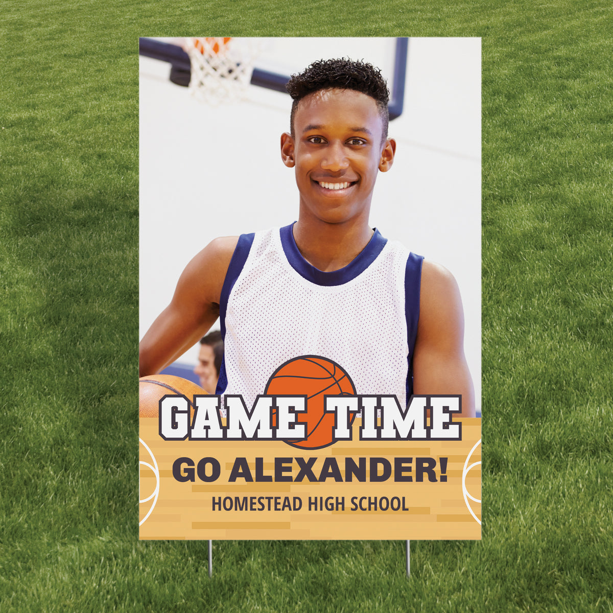 Basketball Photo Vertical Yard Sign