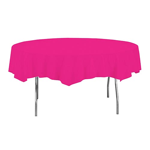 Hot Pink Round Plastic Table Cover