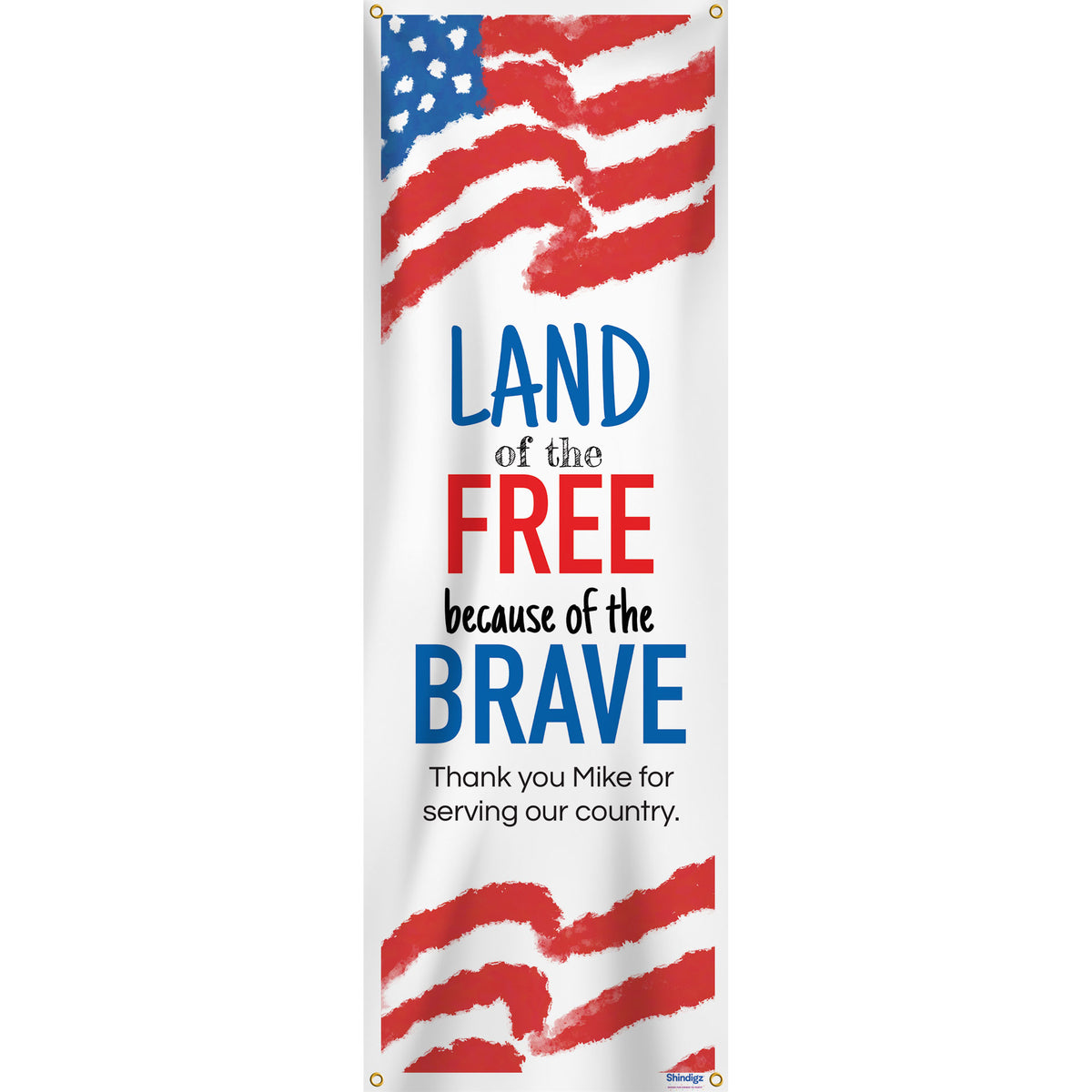 Land of the Free Home of the Brave Personalized Vertical Banner