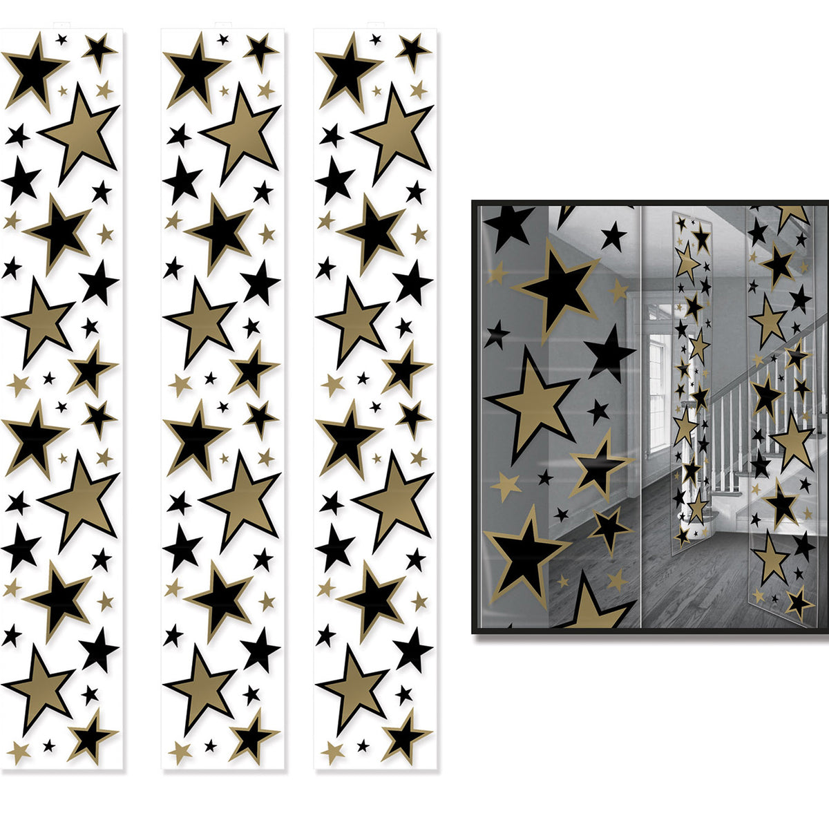 Black and Gold Star Party Panels