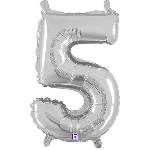 Number 5 Silver Megaloon Junior Balloon