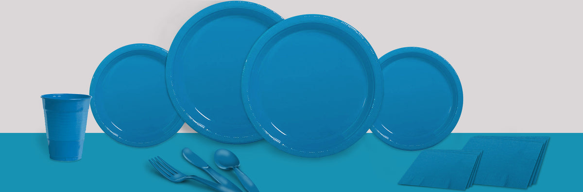 Turquoise Plastic Tableware Set For 20