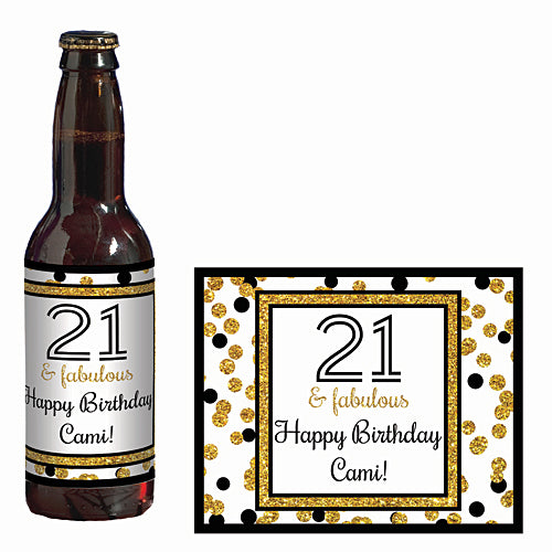 Cheers to You Gold 21 Personalized Glass Bottle Label