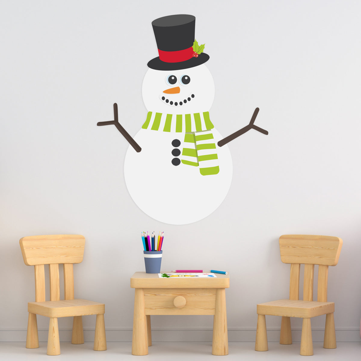 2 ft. 9 in. Build Your Own Snowman Removeable Wall Decal