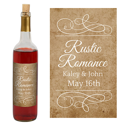 Rustic Romance Personalized Wine Bottle Labels