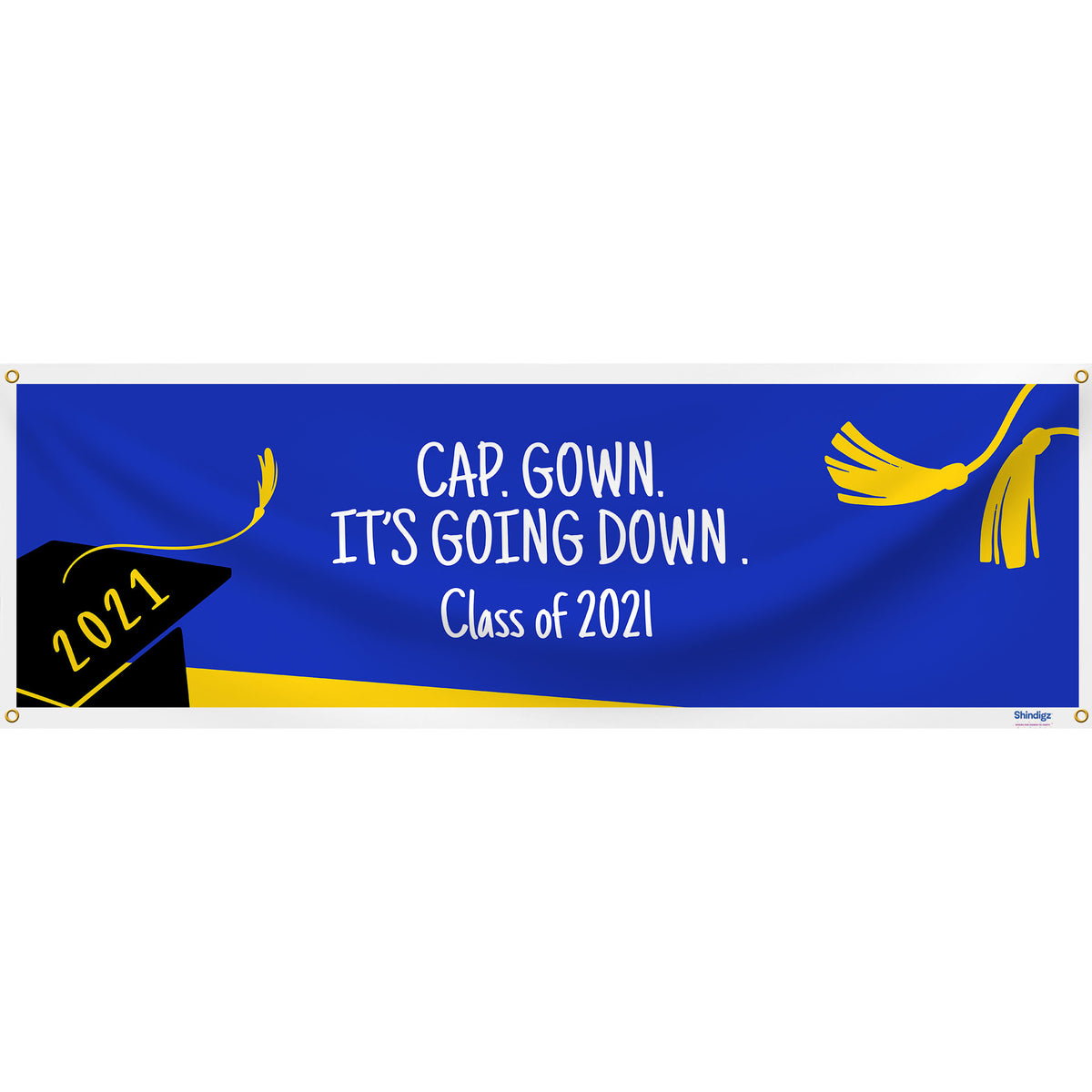 Classic Graduation Banner-Royal Blue & Yellow