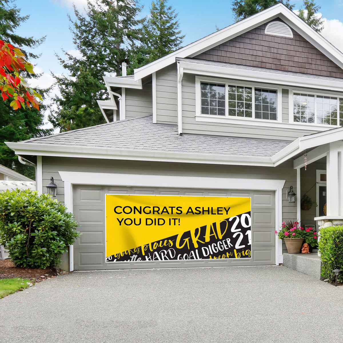 Grad Goals Personalized Garage Door Banner