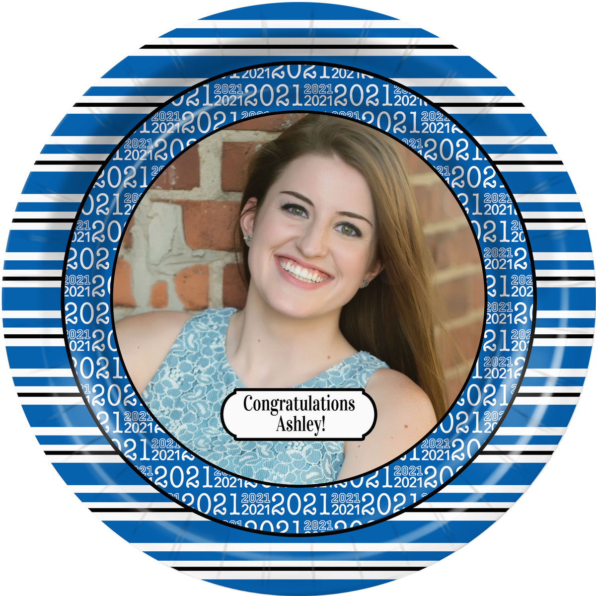 Blue Grad Success Personalized Dinner Plates