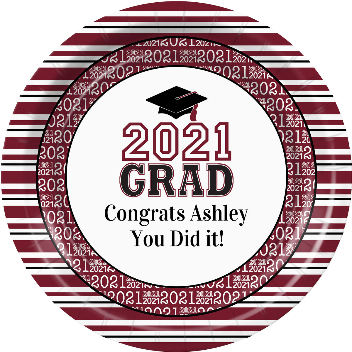 Burgundy Grad Success Personalized Dinner Plates