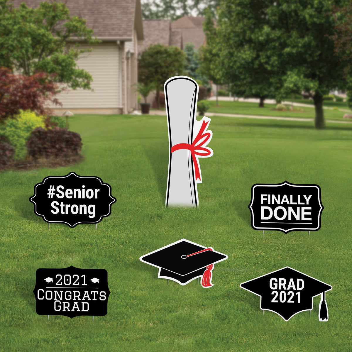 Graduation Yard Sign Expression Icon Set