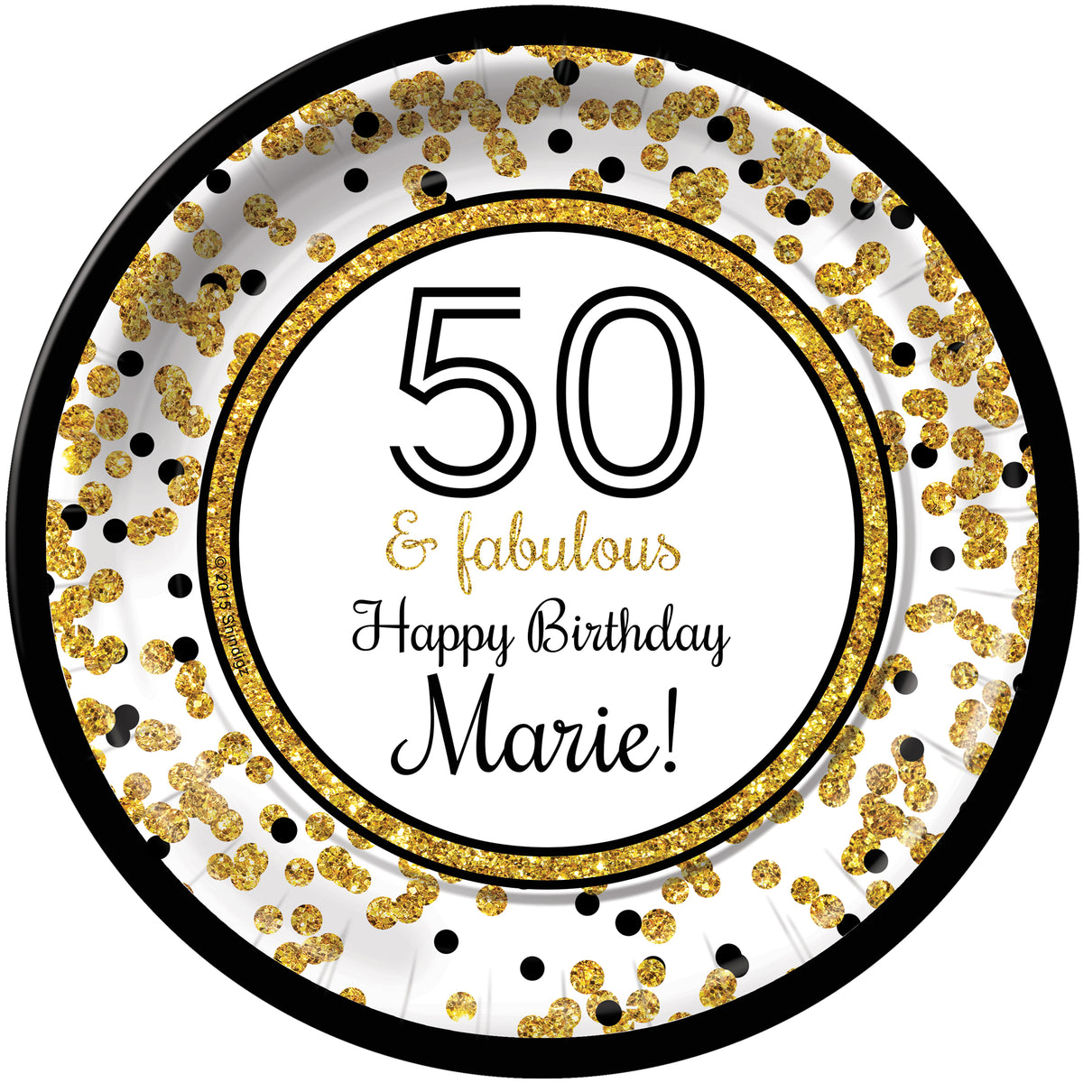 Cheers to You Gold 50 Personalized Dinner Plates