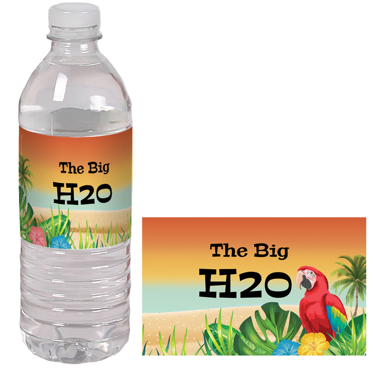 It's Tiki Time Personalized Water Bottle Label