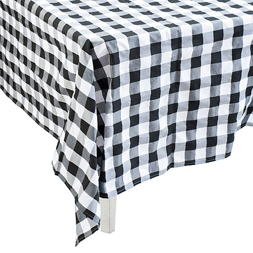 Black & White Gingham Polyester Tablecloth