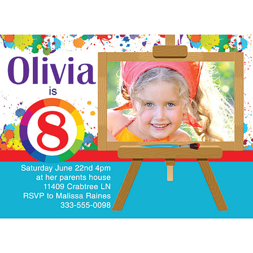 Art Party Personalized Photo Cards