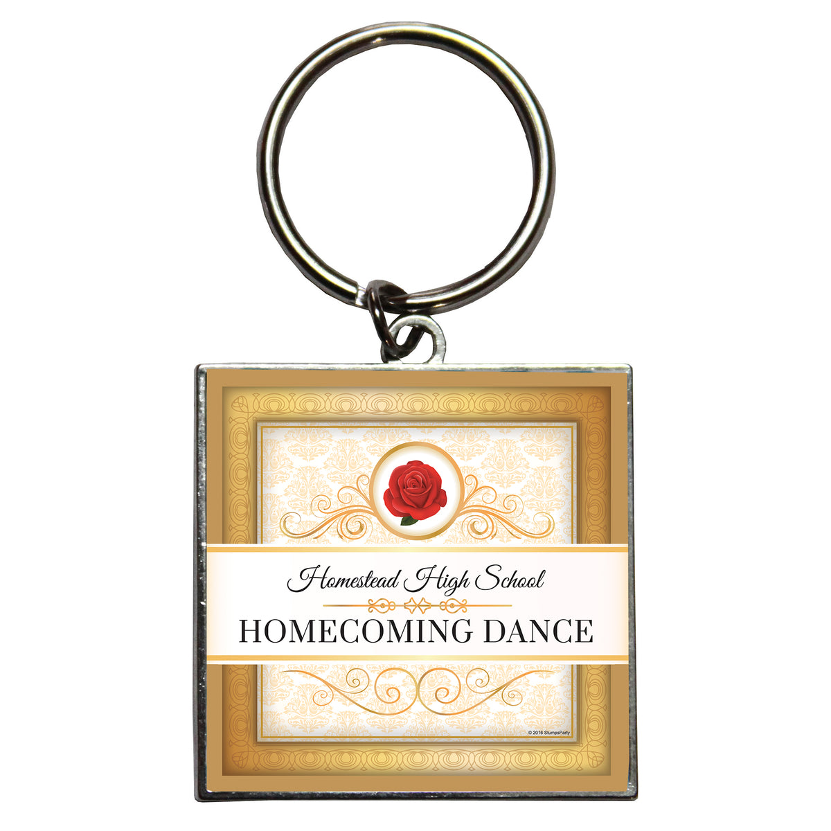 Belle of the Ball Personalized Dome Key Chain