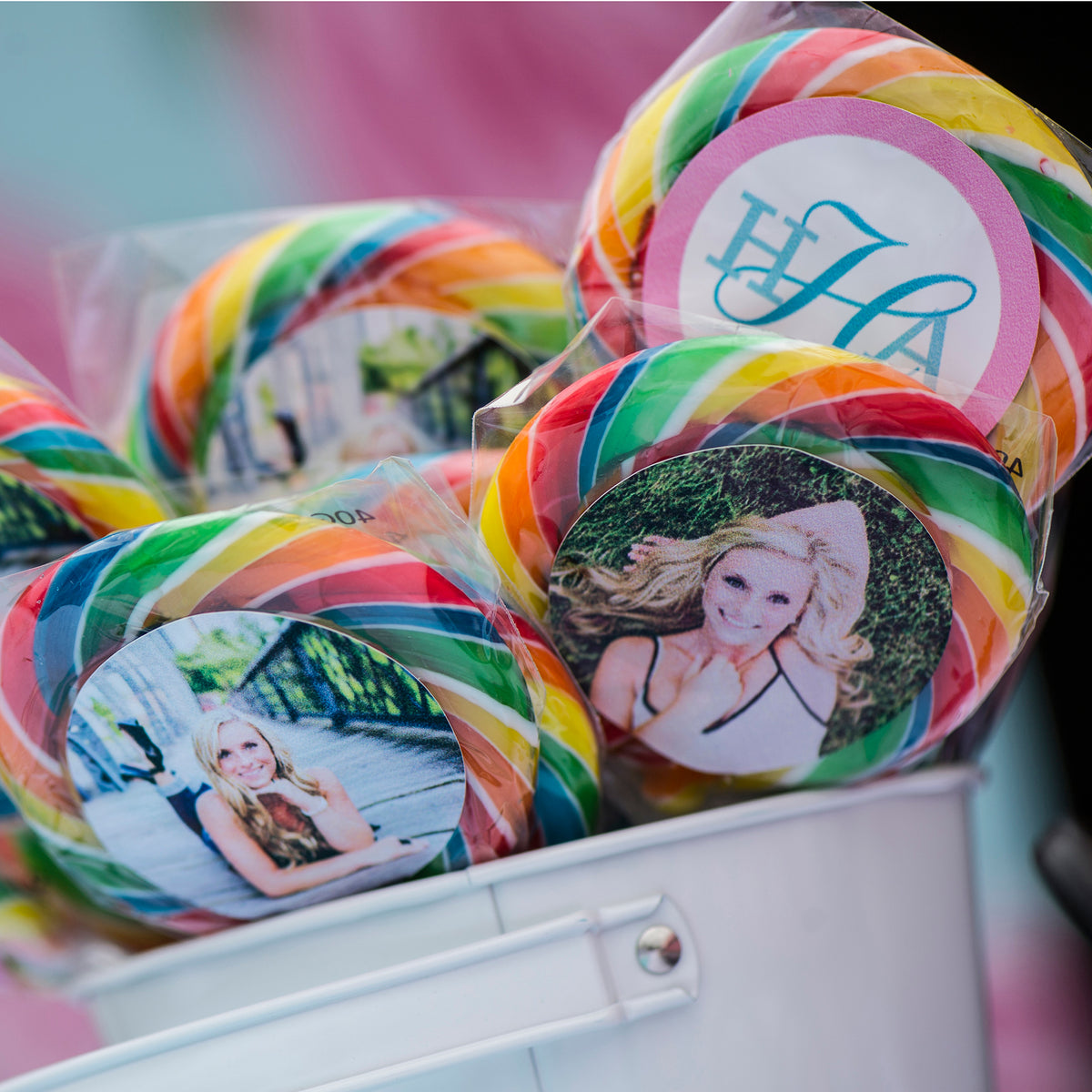 Totally 90's Personalized Rainbow Swirl Lollipops