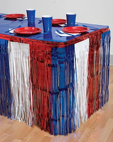 Red White And Blue Metallic Table Skirting