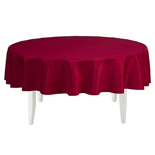 Burgundy Round Polyester Tablecloth